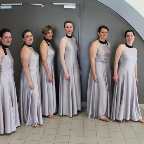 Robes longues grises irisées, liens noir au cou (x6) - Adultes
