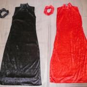 Robes velours noires (x5) + robes velours rouge (x6) + élastique velours - 14/16 ans