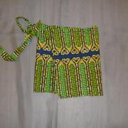 Jupes portefeuilles vert/jaune style africain (x15) - 4/6 ans